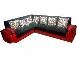 Modern Red & Black Cushion Back L Shape Fabric Sofa Set, For Sitting, Hall