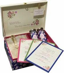 Rectangle Cardboard Designer Box Wedding Card, 1 Leaflet