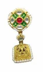 Silver Brass Kundan Earrings
