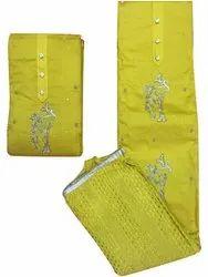 Cotton Unstitched Green Gotta Patti Suit, Machine wash