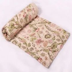Indian Handmade Kantha Quilt Bedspread Floral Print Queen Size Kantha Bed Cover Throw Bed Sheets