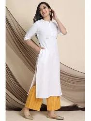 Janasya Women''s White Cotton Flex Kurta With Palazzo(J0140)
