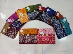 Cotton Hand Crack Batik Saree With Blouse