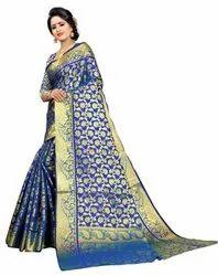 Offline Selection Party Wear Ladies Blue Kanjivaram Silk Saree, 6.3 m (with blouse piece)