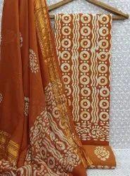 Cotton Batik Printed Dress Material For Casual Wear
