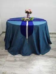 Blue Velvet Round Table Cover