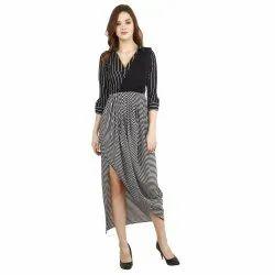 Party Wear Black Ladies Indo Western Official B& W Stripes Drape Collar Maxi, Size: Xs-s-m-l-xl-xxl