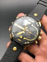 Round Luxury(Premium) Diesel Men Leather Belt Men Watch, For Personal Use