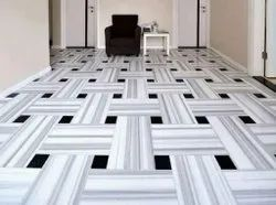White,Black Gloss White Marble Flooring Service, Thickness: 25 mm