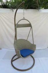 Hanging Swing Single Seater, GC-133, Golden Pe White, Blue Cushion