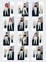 Prithwa Cotton Alishka Casual Pant Spandex Stretchable Pant Collection, Wash Care: Dry clean