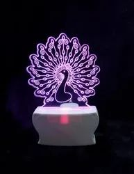 SHAYONA 3D Wonderful Peacock 7 Color Changing 3D Illusion LED Acrylic Night Lamp