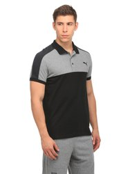 Half Sleeve Black And Grey Mens Collar T-Shirts, Size: Small