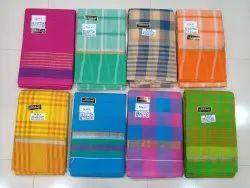 Handloom South Cotton Checks Strips Saree