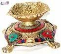 Nirmala Handicrafts Brass Multicolor Stone Work Tortoise Diya Stand Temple Turtle (kachhua) Diya