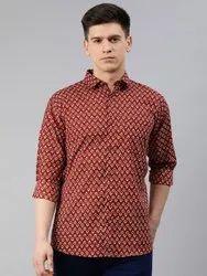 Printed Collar Neck Millennial Men Red Cotton Full Sleeves Shirts For Men, Handwash, Size: 38-50