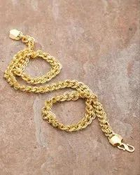 43 gm Men Womens Stainless Steel Real Gold Plated Twisted Rope Chain Necklace Fashion Jewelry