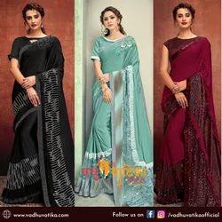 vadhu vatika Border Designer Saree, With blouse piece, 5.5 m (separate blouse piece)