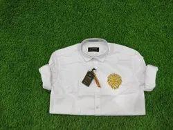 Plain Men White Cotton Shirt
