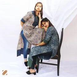 Medium Ladies Designer Ajrak Printed Cotton Kurti