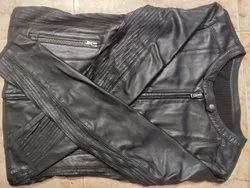 Black Solid Leather womens jacket