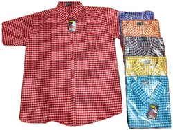 Collar Neck Mens Cotton Check Shirt, Machine wash