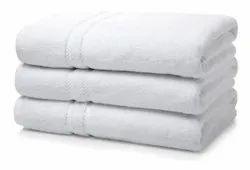 White Cotton Hotel Bath Towel, 450-550 GSM, Size: 30*60,27*54