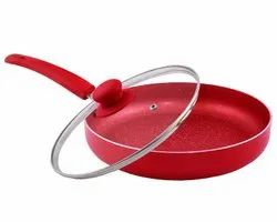 Aluminium Nirlon Non-Stick Fry Pan Red Velvet Induction Base (With Glass LiD) for Home