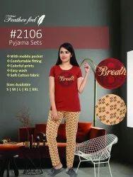 Multi Colour Casual Wear Ladies Top Bottom Nighwear Pyjama Set Size S-xxl