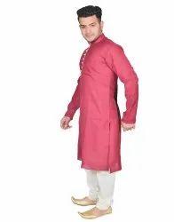 Party Wear Plain Men Cotton Pathani Suit, Handwash, Size: 36*42