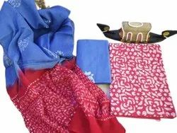 Red And Blue Printed Cotton Unstitched Salwar Suit, Machine wash
