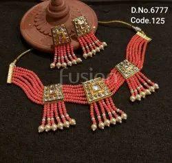 Fusion Arts Beaded Kundan Choker Necklace Set