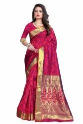 GK International Party Wear Ladies Indian Pink Cotton Saree, 6.3 (with blouse piece)