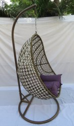 Hanging Swing Single Seater, Anda Full Swing, Shine Golden Line Cum White, Purple Cushion