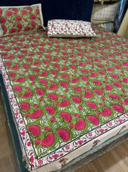 Hand Block Print Cotton Double Bed Sheet With Pillow Cover