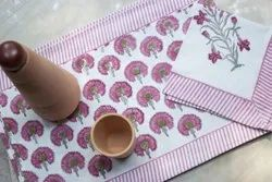 Cotton Hand Block Table Mat and Napkins