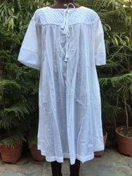 White Plain Cotton Lace Dress, Size: Free Size