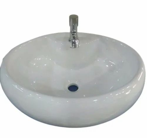 White Round Ceramic Counter Top Wash Basin, For Bathroom