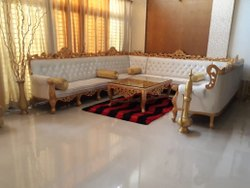 Stainless Steel White,Golden Wooden Carved Sofa Set, For Home, Living Room
