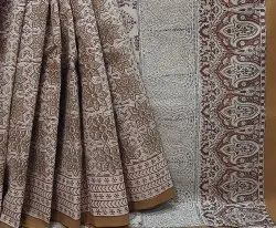 Natural Bagru Handblock Printed Cotton Saree.
