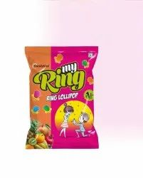 Candybite Mix Fruit My Ring Candy Lollipop, Packaging Type: Packet