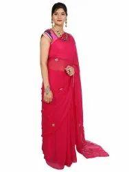 Designer Red Chiffon Saree