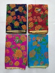Pure Chiffon piping  Border Floral Print Saree with Buti Banaras Blouse