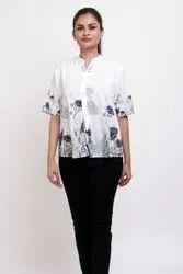 Fashtune Half Sleeves Ladies White Printed Shirt, Size: Medium, Casual