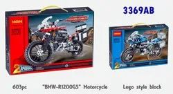 Wooden BMW Motor Cycle Lego Block Toy