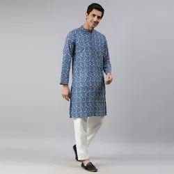 Janasya Men'S Blue Cotton Kurta(MEN5026)