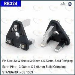 Three Pin 13 Amp Uk Type Flat Insert Black
