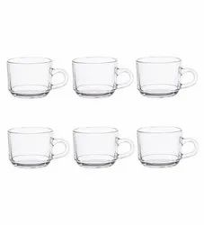 Clear Glass Tea Coffee Cup -180ml-Pack of 6, Size/Dimension: Medium