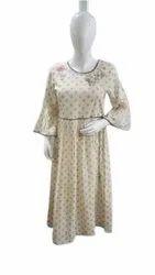 Casual Wear 3/4th Sleeve Ladies Designer Frock Style Kurti, Size: Medium, Wash Care: Handwash