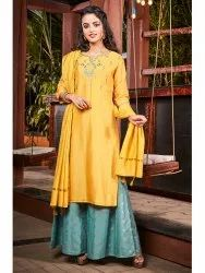 Janasya Women''s Yellow Poly Muslin Kurta With Palazzo and Dupatta(J0103)